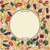 label round frame with vegetables eggplant garlic onion broccoli