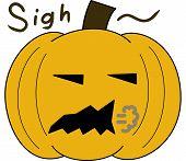 pumpkin face cartoon emotion expression sigh