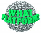 What Platform question words on a ball of question marks to illustrate the importance of choosing the right or best software, application or operating system