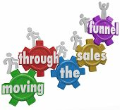 stock photo of clientele  - Moving Through the Sales Funnel words on gears with customers walking up to symbolize the process of buying products and service from your company - JPG