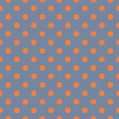 Tile vector pattern or seamless background with orange polka dots on grey blue background