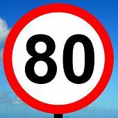 80 kpm speed limit road traffic sign.