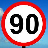 90 kpm speed limit road traffic sign.