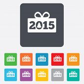 Happy new year 2015 sign icon. Christmas gift.