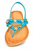 Blue Leather Flip Flops With Starfishes