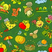 Autumn Seamless with wild animals and food