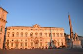Beautiful Piazza del Quirinale in sunset light in Rome, Italy