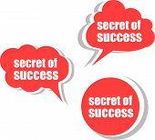 Secret Of Success. Set Of Stickers, Labels, Tags