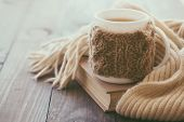 image of breakfast  - Cup of hot tea with lemon dressed in knitted warm winter scarf on brown wooden tabletop - JPG