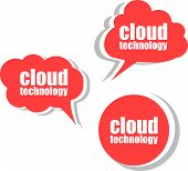 Cloud Technology. Set Of Stickers, Labels, Tags. Business Banners, Template For Infographics