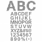 Pixel Font - Alphabets and numerals characters in retro square pixel font