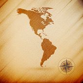 North and South America map, wooden design background, vector illustration