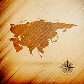 Eurasia map, wooden design background, vector illustration