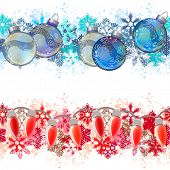 Two different seamless christmas borders.  Ideal for realistic decoration. Endless texture can be used for horizontal wallpaper,  web page background, greeting cards, invitations. Vector illustration