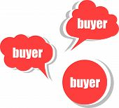 Buyer Word On Modern Banner Design Template. Set Of Stickers, Labels, Tags, Clouds