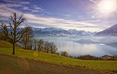 Thun Lake And Jungfrau Region Highlands View In Winter