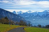 Thun Lake And Jungfrau Ridge Peaks  In Bern Highland View