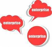 Enterprise Word On Modern Banner Design Template. Set Of Stickers, Labels, Tags, Clouds