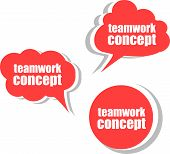Teamwork Concept. Set Of Stickers, Labels, Tags. Template For Infographics