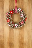 Decorated Christmas Door Wreath Red White Cloth Stars On Sapele Wood Background