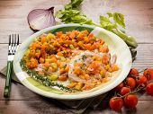 escalope with vegetables salad