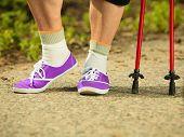 Active Senior Legs In Sneakers Nordic Walking In A Park.