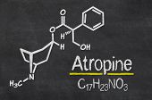 Blackboard with the chemical formula of Atropine