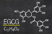 Blackboard with the chemical formula of EGCG