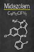 Blackboard with the chemical formula of Midazolam