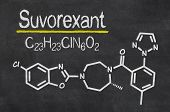 Blackboard with the chemical formula of Suvorexant