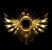 pic of mechanical engineering  - shiny mechanical wings with gears and brass round banner - JPG