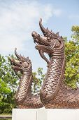 Naga or the serpent king statue in Temple Thailand
