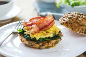 Bacon,egg And Spinach Sandwich Breakfast