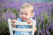 Happy Baby Boy In Lavender