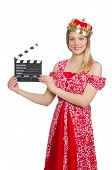 Woman with crown and movie board