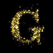 Sparkling Letter G on black background. Alphabet of golden glittering stars (glittering font concept). Christmas holiday illustration of bokeh shining stars character..
