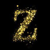 Sparkling Letter Z on black background. Alphabet of golden glittering stars (glittering font concept). Christmas holiday illustration of bokeh shining stars character..