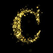 Sparkling Letter C on black background. Alphabet of golden glittering stars (glittering font concept). Christmas holiday illustration of bokeh shining stars character..