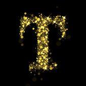 Sparkling Letter T on black background. Alphabet of golden glittering stars (glittering font concept). Christmas holiday illustration of bokeh shining stars character..