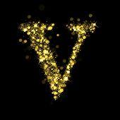 Sparkling Letter V on black background. Alphabet of golden glittering stars (glittering font concept). Christmas holiday illustration of bokeh shining stars character..