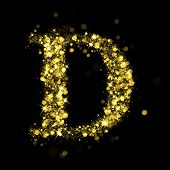 Sparkling Letter D on black background. Alphabet of golden glittering stars (glittering font concept). Christmas holiday illustration of bokeh shining stars character..