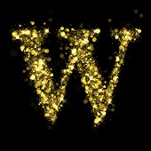 Sparkling Letter W on black background. Alphabet of golden glittering stars (glittering font concept). Christmas holiday illustration of bokeh shining stars character..