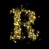 Sparkling Letter R on black background. Alphabet of golden glittering stars (glittering font concept). Christmas holiday illustration of bokeh shining stars character..