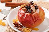 Baked apples with raisins, nuts and honey