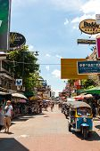 Bangkok, Thailand - August 24:tourists Walk Along Backpacker Haven Khao San Road As Officials Warn V