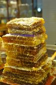 Slices of honeycomb at the local market
