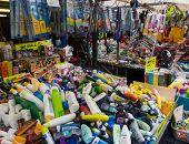 AMSTERDAM - AUGUST 26: Goods for sale at flea market Waterlooplein on August 26, 2014 in Amsterdam.
