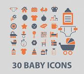 baby, kid, children, toys icons, signs, illustrations, vector, set