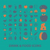 drink, food, grocery, fruits, meat icons, signs, illustrations set, vector