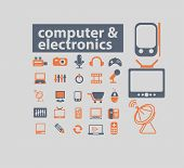computer, pc, electronics icons, signs, illustrations set, vector